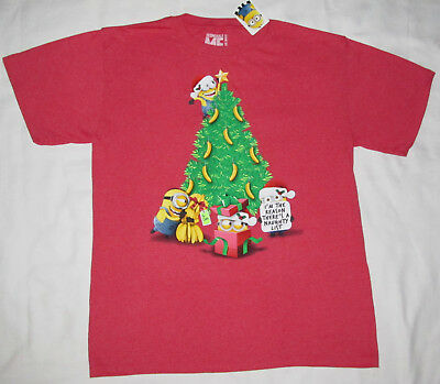 New Despicable Me Red Naugty List Minion Christmas Tee Shirt Adult Size Large