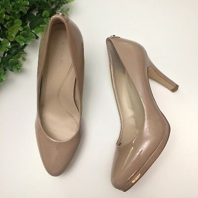 026a0519f8bf Tahari Womens Gallery Nude Tan Patent Leather Pointy Pumps Heels Size 7.5