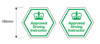 2x ADI Approved Driving Instructor School Stickers DVSA - 180mm Dia