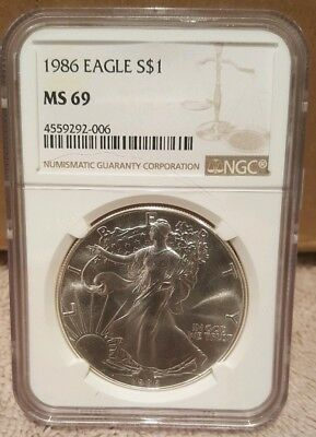 1986 Silver Eagle Dollar $1 MS 69 NGC 1 oz Fine Silver ASE First Year