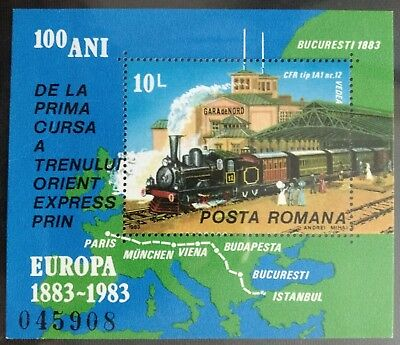 129.romania 1983  Stamp M/s Trains, Europa, Maps . Mnh
