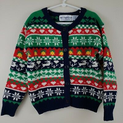 The Eagles Eye Vtg Childrens Girls Button Up Front Holiday Sweater Sz 6 6X Lg