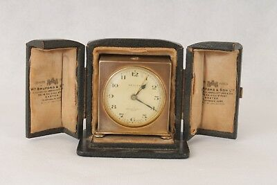 Working Zenith Watch Co Travel Alarm Clock & Case By WM Bruford & Son, Exeter.