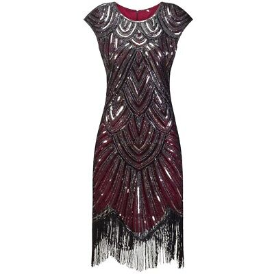 New 1920s vtg gatsby flapper charleston sequin evening black red dress UK 8-18