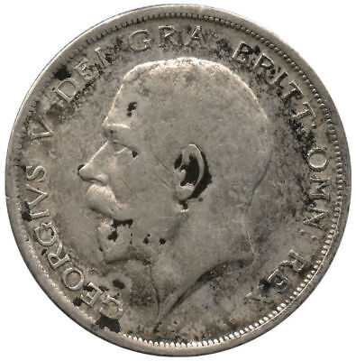 1917 Great Britain Silver Half Crown Cleaned