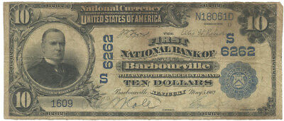 1902 $10 Banknote The First National Bank of Barbourville, Kentucky Ch #S6262