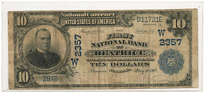 1902 $10 National Banknote Plain Back The First NB of Beatrice, NE Ch #2357