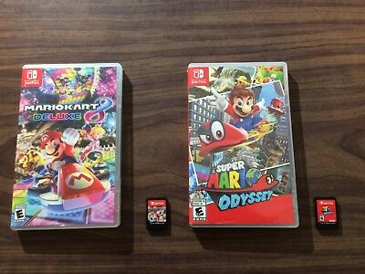 Mario Kart 8 Deluxe + Super Mario Odyssey (Nintendo Switch) Complete with cases