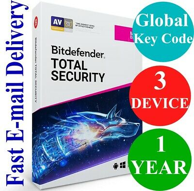 Bitdefender Total Security 3 Device 1 Year (Unique Global Activation Code) 2019