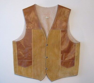 Vtg Mens Two Toned Brown Leather Snap Front Sherpa Lined Cowboy Western Vest 44