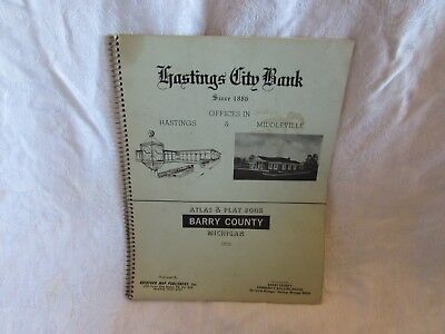 vintage Barry County Hastings MI ATLAS & PLAT BOOK 1978 highway map geneology