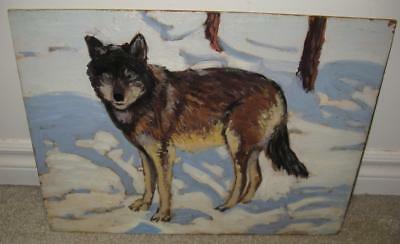Gray Wolf Green Eyes Canis Lupis Canada Original Oil Painting 1960's Winter
