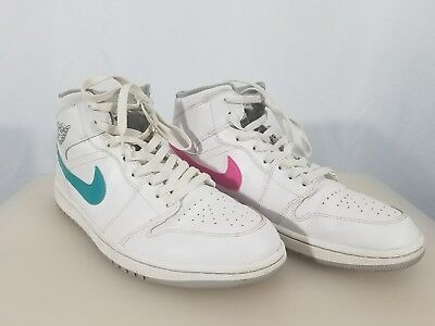 9812183bba3483 NEW AIR JORDAN 1 ONE MID CUSTOM WHITE SHOE Pink Blue Reverse Color MEN SIZE  11.5