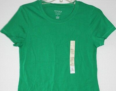 Sonoma Misses Petite Green Crew Neck Short Sleeve Tee T Shirt PS Small