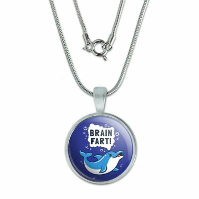 """Brain Fart Dolphin Funny Humor 0.75"""" Pendant with Sterling Silver Plated Chain"""