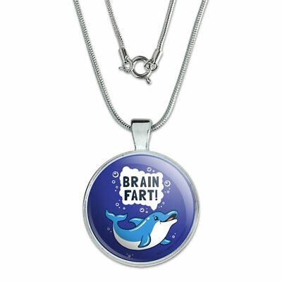"""Brain Fart Dolphin Funny Humor 1"""" Pendant with Sterling Silver Plated Chain"""
