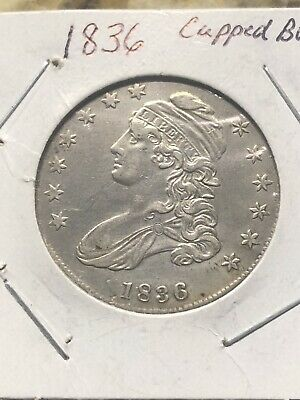 1836 Capped Bust Silver Half Dollar Xf+/au. Lettered Edge