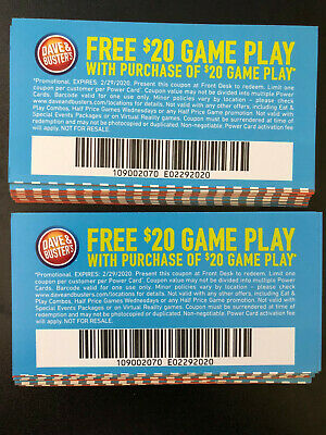 50 Dave And Busters $20 gameplay with identical purchase powercard exp 6/30/2019