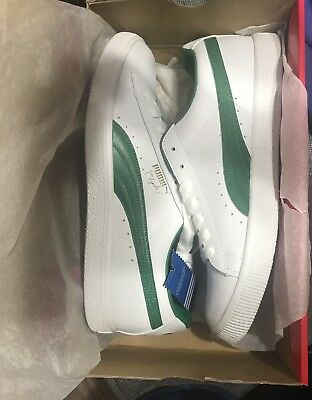 new product db907 1b0aa PUMA MEN'S CLYDE Core L Foil Athletic Sneakers White/Green/Gold Size 11