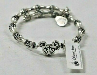 Disney Parks Mickey Mouse Ears Alex and Ani Filigree Silver Charm Bracelet Wrap