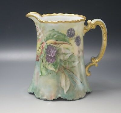 HAVILAND LIMOGES FRUITS PITCHER JUG HAND PAINTED ARTIST INITIALED ANTIQUE c.1900