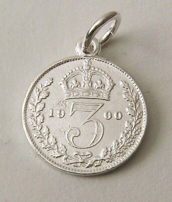 SOLID 925 STERLING SILVER UK 1900 THREE PENCE COIN Charm/Pendant