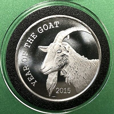 2015 Year Of The Goat 1 Troy Oz .999 Fine Silver Rare Coin Round Collectible 999