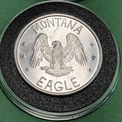 1983 Montana Eagle Whitley Mint 1 Troy Oz .999 Fine Silver Coin Round Medal 999