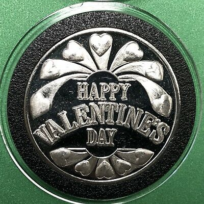 Happy Valentines Day 1 Troy Oz .999 Fine Silver Rare Coin Round Collectible 999