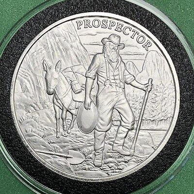 Prospector Old Western Town 1 Troy Oz .999 Fine Silver Coin Round Collectible