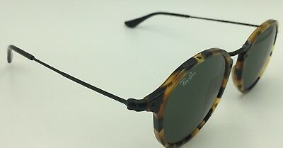 db44698f9f Ray-Ban RB 2447 1157 Spotted Black Havana Round Fleck Sunglasses Green Lens  52mm