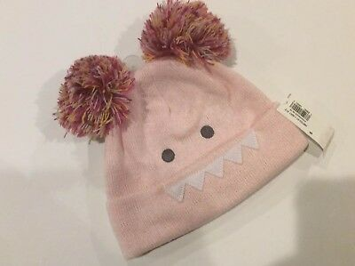 NWT OLD NAVY Toddler Girls Size Small Pink Critter Knit Double Pom Pom Hat c8e15865f30c
