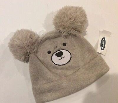 NWT OLD NAVY Infant Toddler Size Small Tan Bear Critter Knit Double Pom Pom  Hat 6032ad4c6785