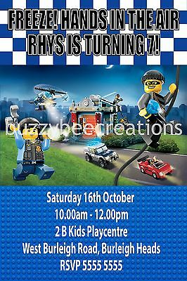 LEGO City Police Robbers Personalised Invitations DIY Printing