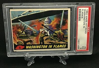 1962 Mars Attacks WASHINGTON IN FLAMES #5 EXCELLENT 5 - Topps garno PSA