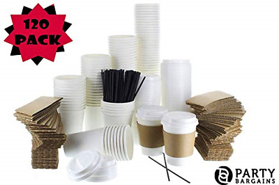 {120 COUNT} JUMBO Pack White Coffee Cups | Insulated Disposable Hot Cups with |