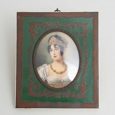 Antique Miniature Portrait Painting Empress Josephine Bonaparte Royal Crown