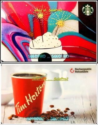 2x TIM HORTON STARBUCKS PINK RECHARGEABLE RELOADABLE COLLECTIBLE GIFT CARD LOT