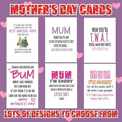 Funny Mothers Day Birthday  Card Humour Rude Banter Mum Stepmum Shack up Dad M24