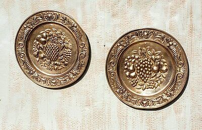 Set of 2 Vintage Peerage Brass Wall Plates Decor Made In England Embossed fruit