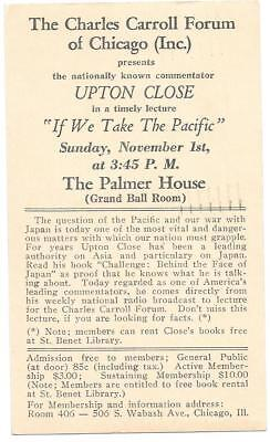 "Chicago 1942 Upton Close Lecture "" If We Take The Pacific ""  World War Ii"