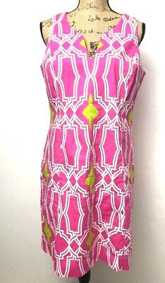 ced8ecde2d3 Signature by Robbie Bee Women s Sheath Dress Size 10 White Pink Green V Neck