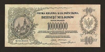 Poland 10.000.000 ( 10000000 ) Marek 1923 VF+ , Pick# 39A . Inflation banknote
