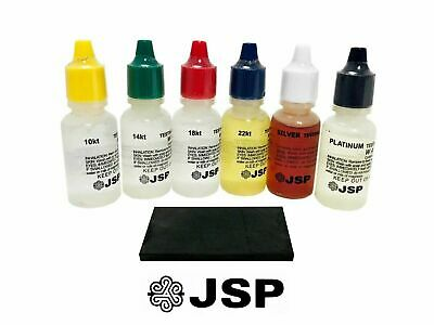 6 JSP Gold Silver Platinum Acid Set & Scratch Stone Jewelry Testing Kit FRESH