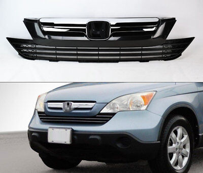 Front Replacement Upper & Lower Bumper Grills Grille For Honda CRV 2007-2009