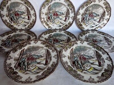 """8 Johnson Brothers Friendly Village 6 1/4"""" Bread and Butter Plates, England Mint"""
