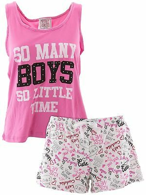Mentally Exhausted Juniors Loved Beige Short Tank Top Pajamas Shorty PJs