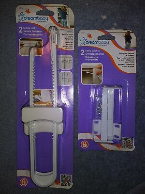 Dreambaby Lot Of 4 Total Safety Devices-2 Sliding Locks & 2 Safety Catches--NEW