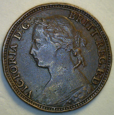1879 Bronze Farthing Great Britain UK Coin Extra Fine