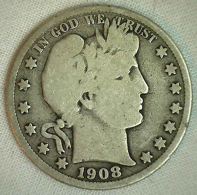1908 D Barber Half Dollar Silver Type Coin Fifty Cents 50c Good Denver